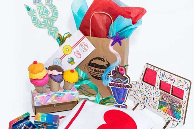 Craft projects and costume pieces from ice cream and mermaid themed birthday party box.